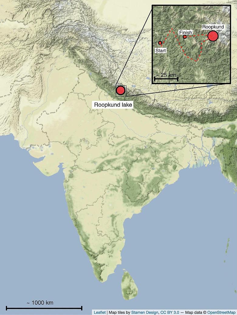 Karte: Lage des Roopkund-Sees