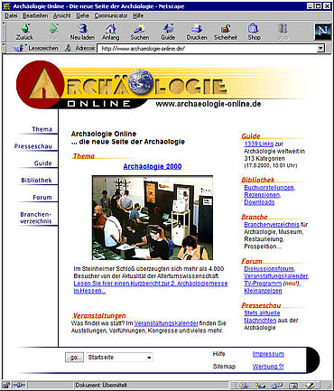 Screenshot Archäologie Online 2000