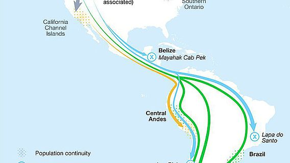 Die Karte zeigt die geografischen Wanderungsbewegungen der Bevölkerungsgruppen