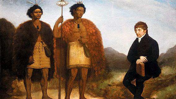 Die Häuptlinge Waikato und Hongi Hika mit dem Missionar Thomas Kendall