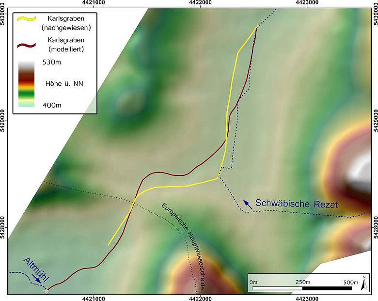 Vergleich des nachgewiesenen und modellierten Verlaufes des Karlsgrabens