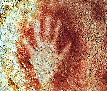 Hand-Abbild in der Höhle von Peche Merle, Frankreich