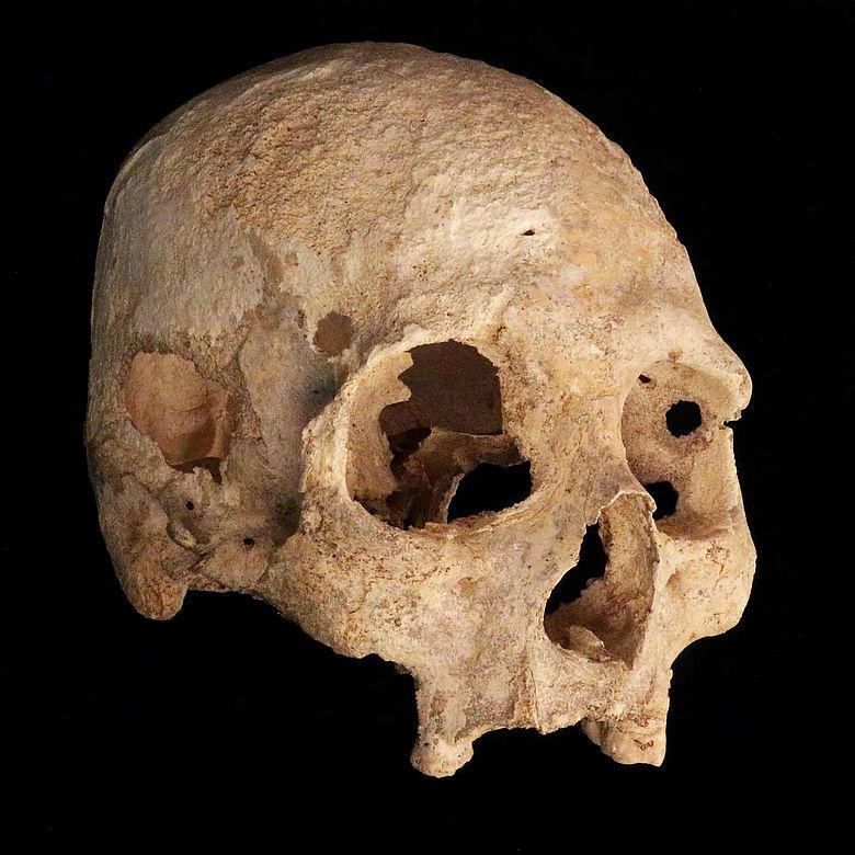Schädel der paläoindianischen Frau aus der Chan-Hol-Höhle, Yucatán