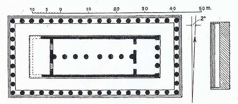 Abb. 1| Beispiel für eine geringe Abweichung der Tempelquerachse von der N-Richtung in der Literatur (Hera-Tempel I (Mitte 6. Jh. v. Chr.), Paestum, Zeichnung bei Lübke-Semrau mit Nordpfeil. Einzeichnung der Abweichung: Autor). Der gezeichnete Pfeil ist original, die Abweichung von der Nordrichtung beträgt ca. -2°, die Ausrichtung der Cella des Tempels liegt dementsprechend bei 88°, also fast bei Ost.