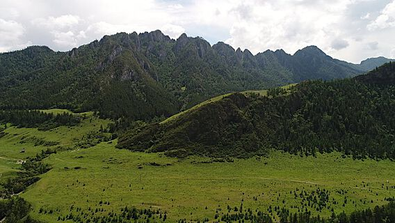 Landschaft nahe der Siedlung Nizhnyaya Sooru im oberen Karakol-Flusstal, Republik Altai, Russland