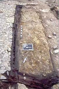 Abb. 1 Reste eines Schwellbalkens. © Landesamt für Archäologie Sachsen