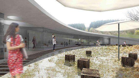 Innenhof des neuen Archäoparks Vogelherd (Abb.: Archäopark Vogelherd)