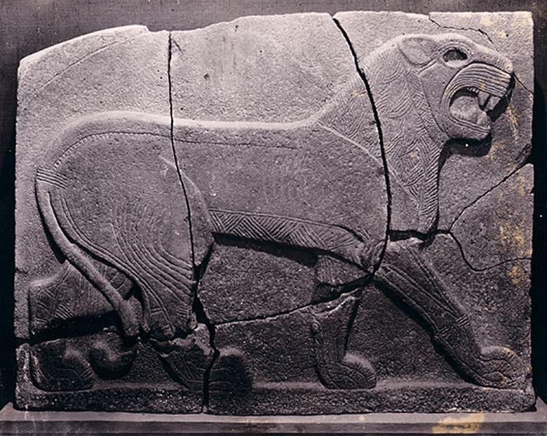 Große Reliefplatte vor der Zerstörung des Tell Halaf-Museums (1930er Jahre)