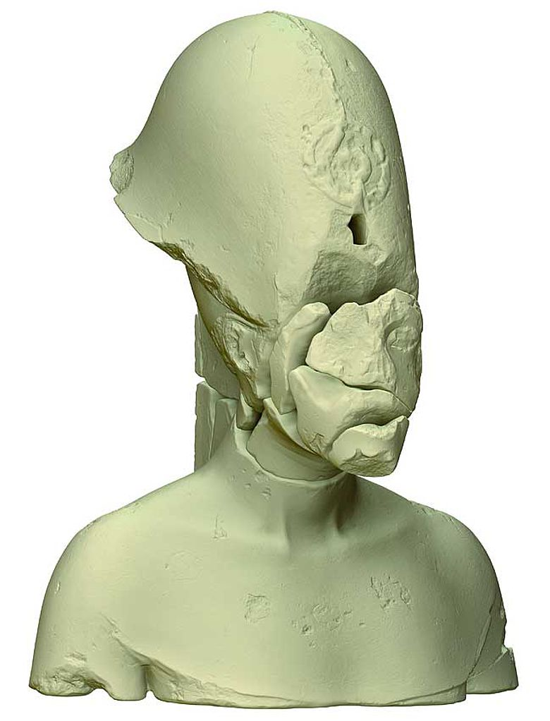 Die Echnaton-Büste in 3D © TU Berlin/3D Labor/Brych
