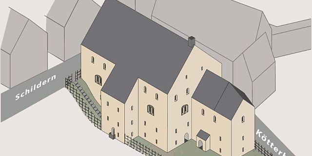 Eine Ansicht aus der 3D-Rekonstruktion der Bebauung am Hellweg im späten 12. Jahrhundert. (Rekonstruktion: LWL)