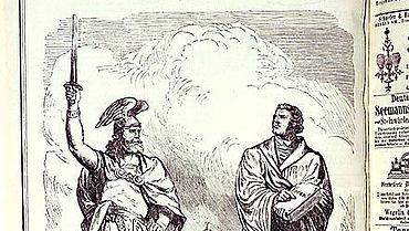 Hermann und Luther. Kladderadatsch vom 15. August 1875 (Lipp. Landesmuseum Detmold)
