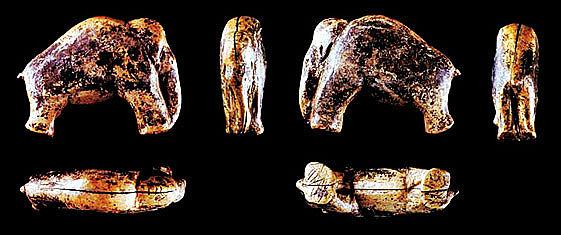 Das nur 3,7 cm große Mammut aus Elfenbein wurde 2006 bei Nachgrabungen an der Vogelherdhöhle im Lonetal, Baden-Württemberg, entdeckt. Mit einem Alter von ca. 32.000 Jahren stellt es einen der ältesten Belege figürlicher Kunst weltweit dar (Foto: Uni Tübingen)