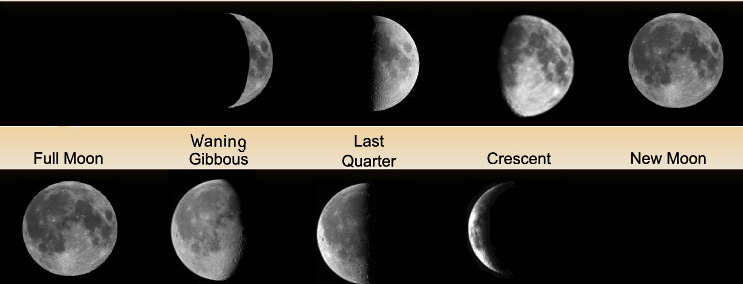 Abb. 11| Wiedergabe der Mondphasen im Verlauf eines Monats (Grafik: Royal Geographical Society <a href=»http://www.gnu.org/copyleft/fdl.html«>GFDL</a>