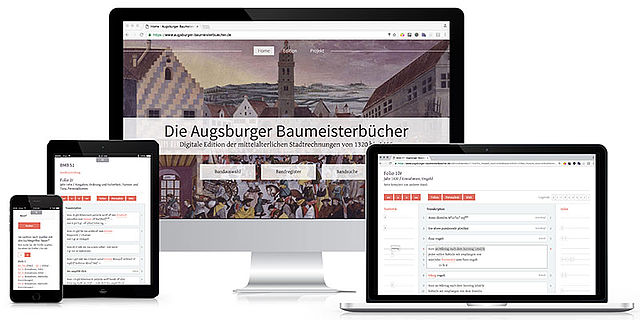 Screenshots der digitalen Edition der Augsburger Baumeisterbücher