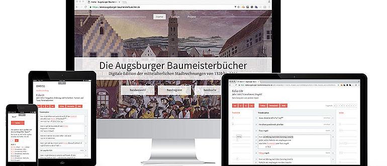 Screenshots der digitalen Edition der Augsburger Baumeisterbücher