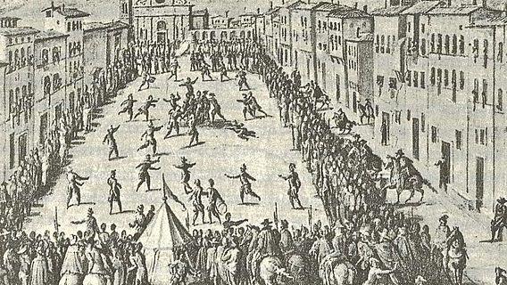 Fresco von Jan van der Straet: Calcio vor Santa Maria Novella, 1558