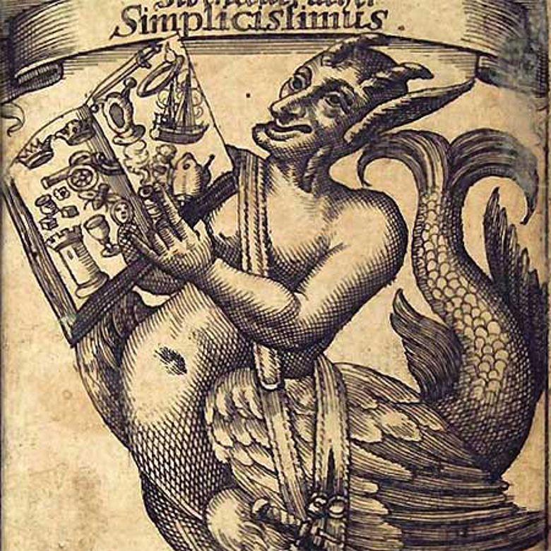 Frontispiz der 1669 erschienenen Erstausgabe von Grimmelshausens »Der Abentheuerliche Simplicissimus« (Ausschnitt)