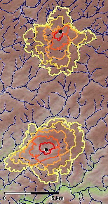 Abb. 9: Umfelder für Wipperfürth (im Norden) und Lindlar (im Süden) (Karte: Herzog auf Grundlage des ASTER DGM)