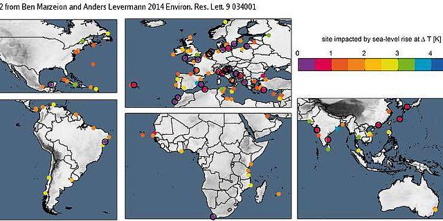 Karte der UNESCO Welterbe-Stätten mit dem Grad ihrer Gefährdung