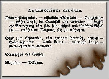 """Anwendung von """"Antimonium Crudum"""" in der Medizin"""