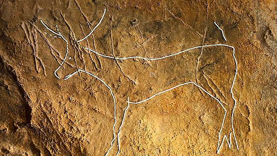 Steinzeitliche Felsgravur