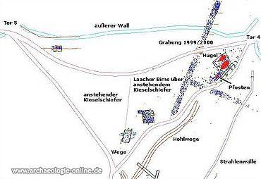 Grabungsfläche der Kampagne 2004 im südlichen Vorfeld des Dünsberg. (Karte: Claudia Nickel)