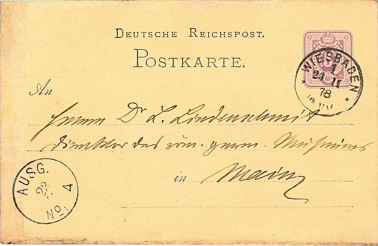 Postkarte von Karl August von Cohausen an Ludwig Lindenschmit d. Ä. vom 23.11.1878