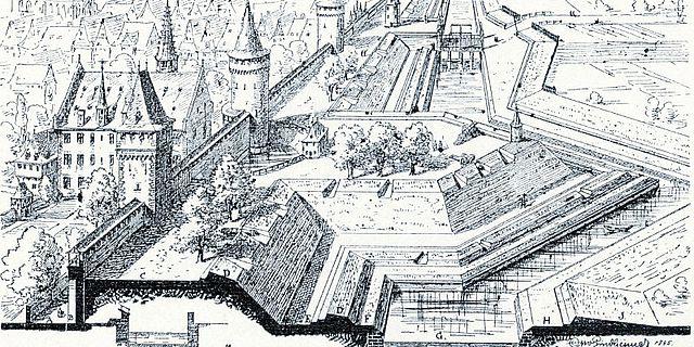 Schematisierter Schnitt durch das Verteidigungssystem der Frankfurter Stadtmauer, nach Otto Lindheimer, 1885 © Institut für Stadtgeschichte
