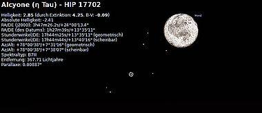 Abb. 7. Der Vollmond in der Nähe der Plejaden am 24. Oktober -485 (=24. Oktober 486 v. Chr.). Alkyone vom Programm markiert. Foto erstellt mit Hilfe des Programms »Stellarium«, Bearbeitung: Kurzmann