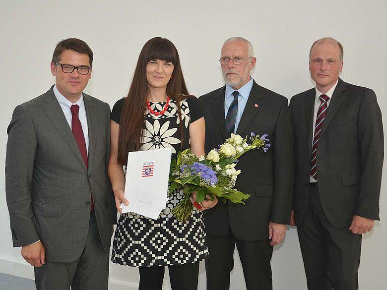 Boris Rhein, Dr. Eveline Saal, Dr. Holger Göldner und Dr. Udo Recker