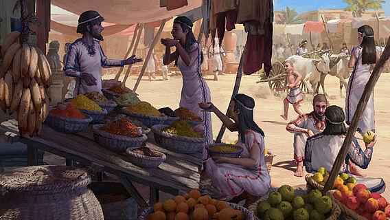 Bronzezeitliche Marktszene