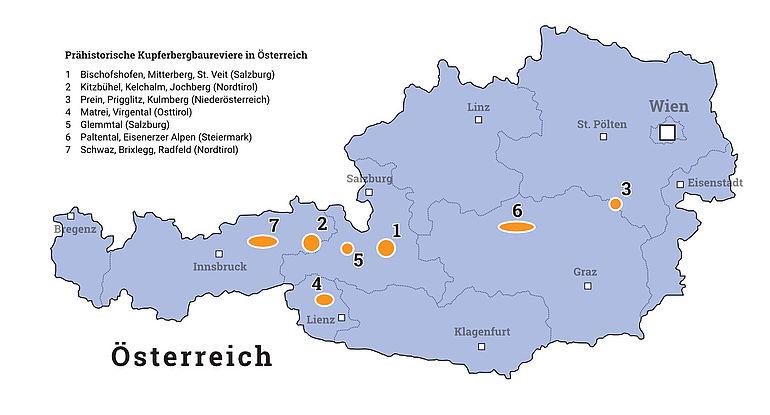 Karte: Prähistorischer Kupferbergbau in Österreich