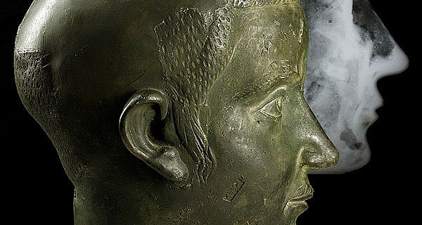 Portrait Gordians III. aus Niederbieber mit Roentgenbild (LVR-LandesMuseum Bonn)