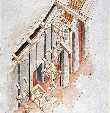 Detailrekonstruktion der Hebeanlagen im Kolosseum. (Grafik: DAI)