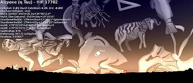 Abb. 6| Extreme Nähe des Vollmondes zu den aufgehenden Plejaden (Alkyone vom Programm markiert) am Abend des 24. Oktober -485 (=24. Oktober 486 v. Chr.). Horizont und Extinktion der Atmosphäre wurden berücksichtigt. Die genaue Angabe dieses Datums täuscht. Sie erfolgt durch das Programm für die damalige Zeit auf der Grundlage des heutigen Kalenders. Foto erstellt mit Hilfe des Programms »Stellarium«, Bearbeitung: Kurzmann