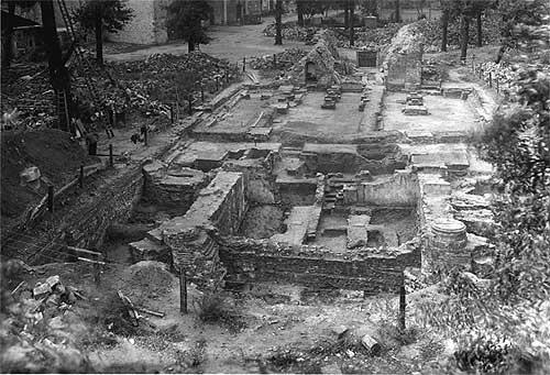 Vreden, Grabungssituation zwischen 1949 bis 1951. (Foto: Westfälisches Amt für Denkmalpflege, Bildarchiv)