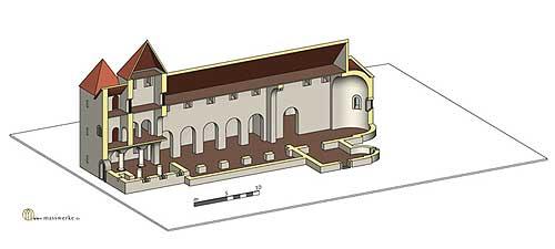 Vreden, Gründungsbau I. (Rekonstruktion H. Weiß, www.masswerke.de)