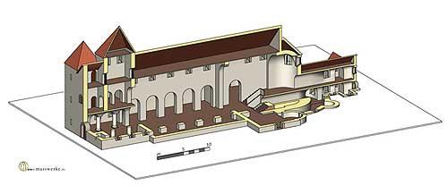 Vreden, Bau Ia mit angefügter Krypta. (Rekonstruktion H. Weiß, www.masswerke.de)