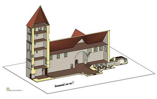 Vreden, Bau IIIa mit Westturm. (Rekonstruktion H. Weiß, www.masswerke.de)