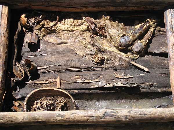 Olon-Kurin-Gol 10, Kurgan 1: Gesamtansicht des Grabes mit dem teilmumifizierten Leichnam. (Foto: DAI Berlin)