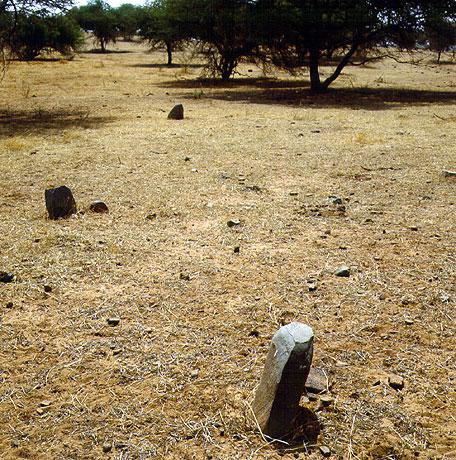 Die mit Steinstelen gekennzeichneten Gräber aus der Eisenzeit. (Foto: S. Magnavita)