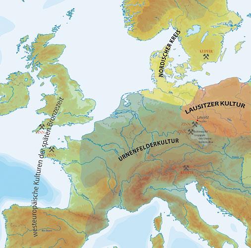 Verbreitung der Lausitzer Kultur in Europa um 1000 v. Chr. mit angrenzenden Kulturen sowie Zinn- und Kupferlagerstätten (Abb. Museum Westlausitz)