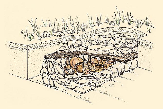 Zeichnerische Rekonstruktion eines spätbronzezeitlichen Kammergrabes mit Mehrfachbestattung (Niederkaina, Lkr. Bautzen), (Abb. Museum Westlausitz)