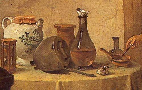 Ausschnitt aus Gemälde »Der Alchemist«
