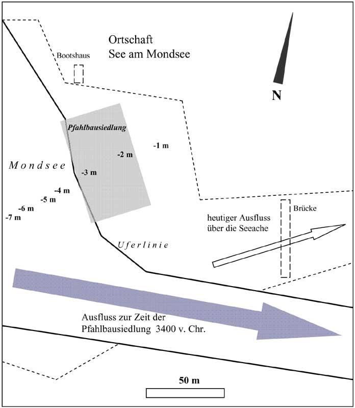 Abb. 9. Lage der Pfahlbausiedlung von See am Mondsee, OÖ, an der rekonstruierten Uferlinie um 3.400 v. Chr. (heutiger Uferverlauf gebrochene Linie) (Grafik: Alexander Binsteiner)