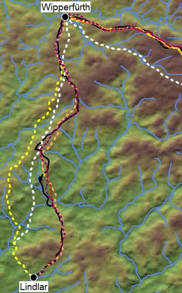 Abb. 7: Der Polizeiweg zwischen Lindlar und Wipperfürth sowie ein Teilstück der Bergischen Eisenstraße (schwarz) mit errechneten Routen (Karte: Herzog, auf Grundlage des Aster DGM)