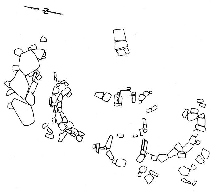 Abb. 2 : Steinplan des Tempels Tal-Qadi nach von Freeden: »Grundriss der erhaltenen Tempelpartien mit Torbau im Westen und Türanlage im Zentrum. Werksteinpositionen wohl nur teilweise original.«