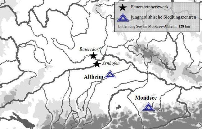 Abb. 1. Die Pfahlbausiedlung von See am Mondsee ist Teil des UNESCO-Welterbes »Prähistorische Pfahlbauten um die Alpen« (Karte: A. Binsteiner)