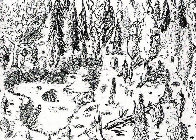 Abb. 2. Rekonstruktion des jungneolithischen Hornsteinabbaues von Baiersdorf im Altmühltal (Diplomarbeit Binsteiner, Würzburg 1985)