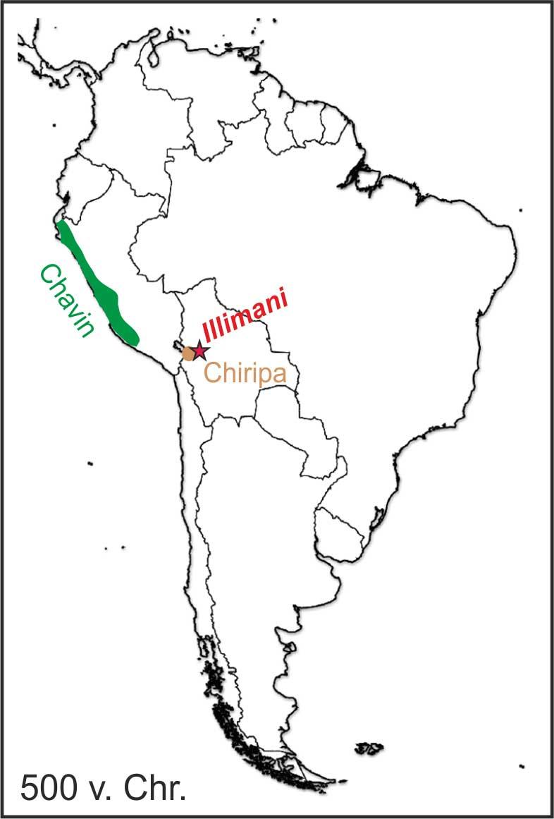 Karte: Chavin- und Chiripa-Kulturen in Südamerika um 500 v. Chr.